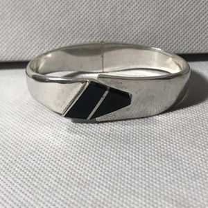 Sterling Silver hinged Bangle Bracelet ONYX 925